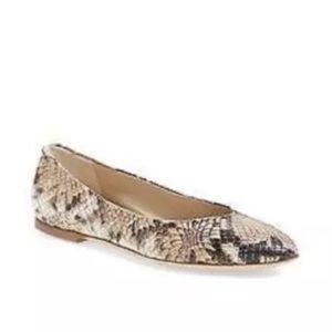 AGL • Tan Snakeskin Pointed Toe Ballet Flats
